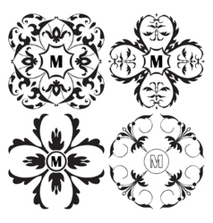 Set of medieval ornamental monograms framework vector image