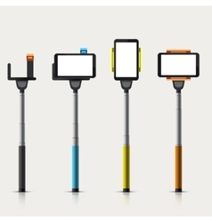 set of modern monopod for self vector image