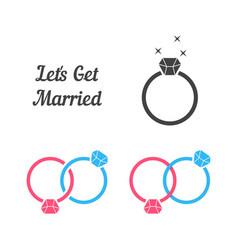 Set of rings like get married vector