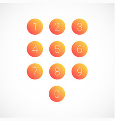 set of round number icons vector image