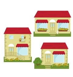 set of small shops vector image