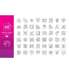 set of thin line icons of graphic design vector image