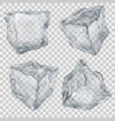 Set transparent gray ice cube vector