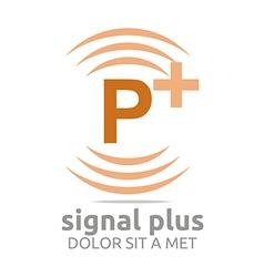 Signal letter p plus orange alphabet wireless vector