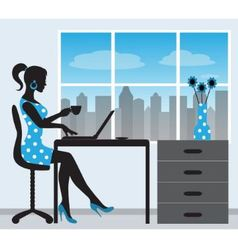 silhouette of a woman with a laptop vector image