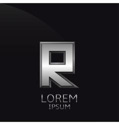 Silver R Letter emblem vector
