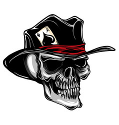 Skull with top hat and ace spades vector