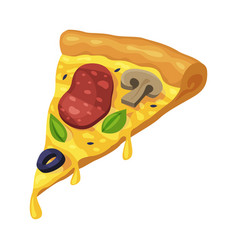 Slice pizza with sausage mushrooms and olives vector