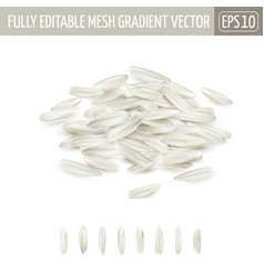 Small pile long grain white rice vector