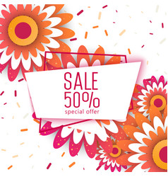 Spring sale paper cut flowers for your design vector