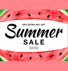 summer sale banner with watercolor watermelon vector image