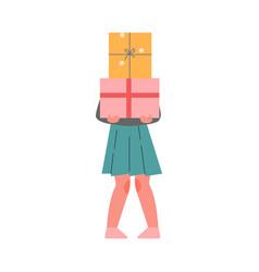 teenage girl holding huge present boxes girl vector image