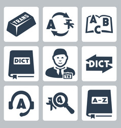 translation and dictionary icons set vector image
