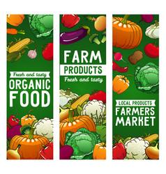 vegetables banners farm food eco veggies vector image