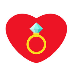 wedding rings icon diamond engagement ring vector image