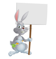 white easter bunny rabbit sign vector image