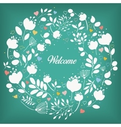 White floral ring Welcome vector