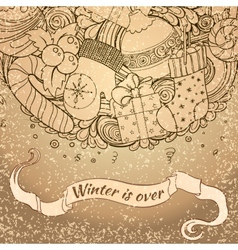 Winter icons vintage circle composition vector image