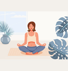 Woman yoga at home background vector