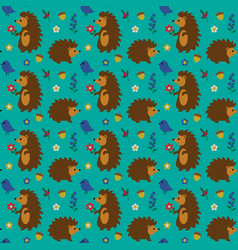 woodland hedgehog pattern with birds flowers vector image