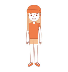 young girl kid character standing cartoon vector image