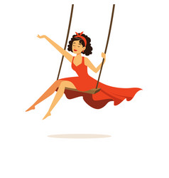 beautiful young woman in red dress swinging girl vector image vector image
