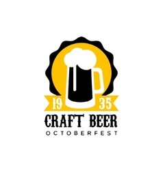 Craft Beer Logo Design Template With Pint vector image