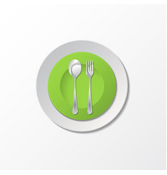 Cutlery with green plate vector