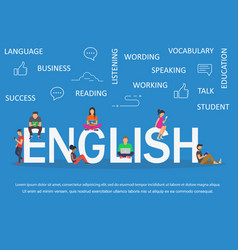 english word for education with icons flat design vector image