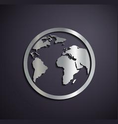 Flat metallic logo Earth vector image vector image