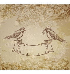 greeting card with birds hand drawn vector image