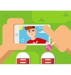 Guy Makes Selfie on Smart Phone Flat Design vector image