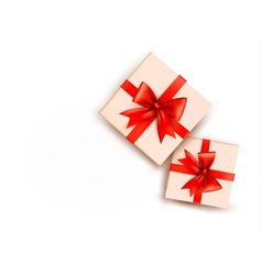 Holiday background with gift boxes with red bow vector image vector image