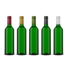set 5 realistic green bottles of wine vector image vector image