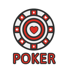 sign of poker red and white chip flat design vector image vector image