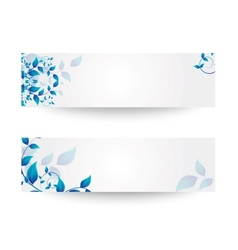 banner with flowers and leaves vector image