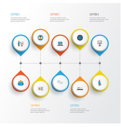 Business flat icons set collection of work man vector