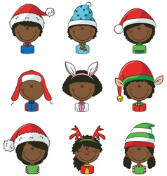 Cristmas African-American children avatars vector image vector image