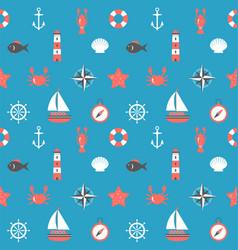 marine cartoon seamless pattern nautical vector image