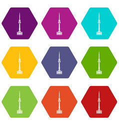 namsan tower in seoul icon set color hexahedron vector image