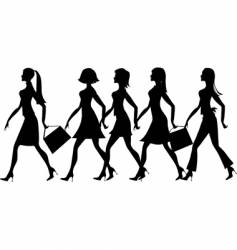 silhouette of 5 ladies vector image vector image
