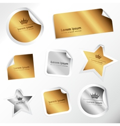 silver and gold stickers vector image vector image