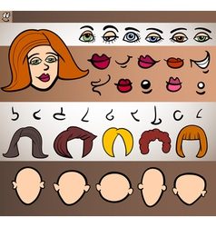 woman face elements set cartoon vector image