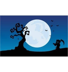 At night warlock scenery Halloween backgrounds vector image vector image