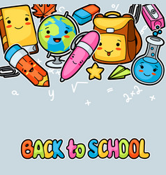 back to school kawaii background with cute vector image