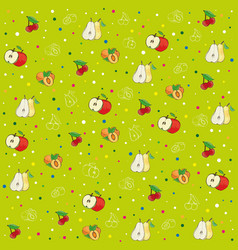 background pattern apples pears peaches and plum vector image vector image