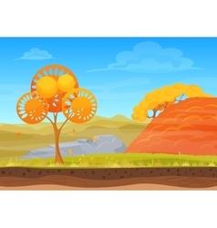Cartoon nature autumn landscape in sun day with vector image
