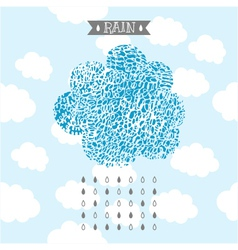 decorative background of hand drawn doodle clouds vector image