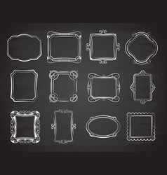 doodle portrait photo frames sketch vector image