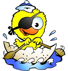 Hand-drawn of an cute baby chicken rowing a boat vector image vector image